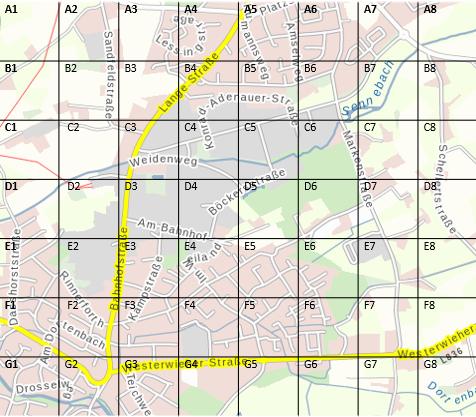 Ausschnitt einer Landkarte mit einer Einteilung nach Planquadraten